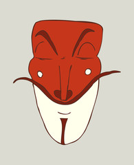 mask anonymous (red and white) vector illustration