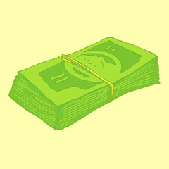 money stack vector Illustration, hand drawing
