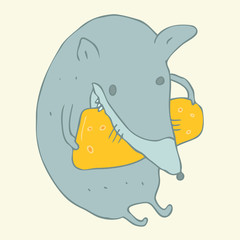 Mouse and cheese vector illustration, hand drawn