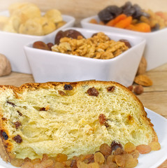 Cake - panattone and dried organic fruits