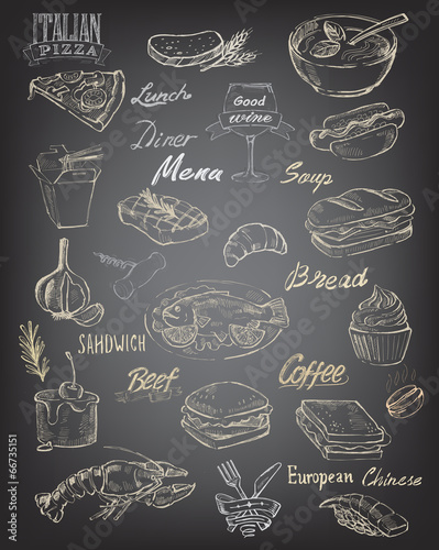 hand drawn food and meal - 66735151