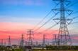 electricity pylon at dusk