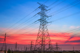 electricity pylon in sunset
