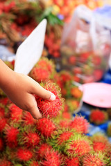 Sweet fruits rambutan in the market