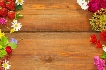 Flowers and Fruits on vintage wood table