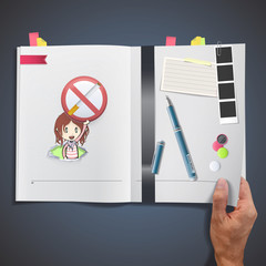 Kid holding a prohibited sign printed on book.
