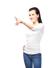 Young and attractive teenage girl pressing imaginary button isol