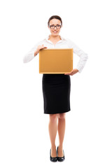 Successful and beautiful businesswoman with the blank board