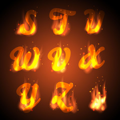 Fire alphabet. Vector.