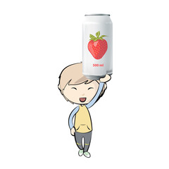 Kid with  tin of strawberry juice. Vector design