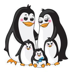Penguins family on white background.