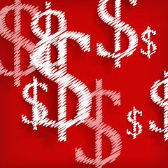 White dollar symbols on red background - vector illustration