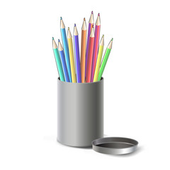 Steel box with crayons isolated over white