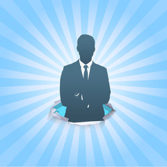 Silhouette of business man with his arms crossed. Vector design.