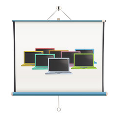 projector screen with laptops over white background