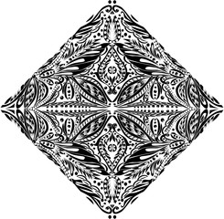black symmetrical decorated abstract diamond