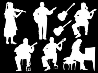 five musicians isolated on black background