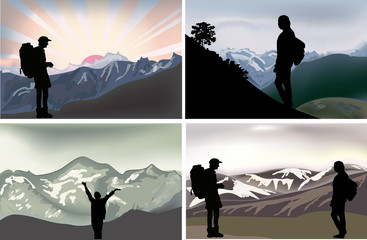 four compositions with tourists in mountains