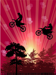 abstract composition with bikers above trees
