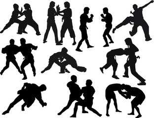 hand-to-hand fighters silhouettes set