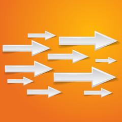 white arrow on orange background - vector illustration