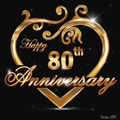 80 year anniversary golden heart design