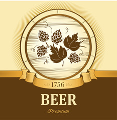 beer keg with hop for label, package