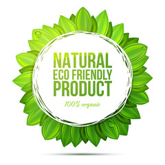 Natural eco friendly product label with realistic leaves