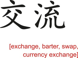 Chinese Sign for exchange, barter, swap, currency exchange