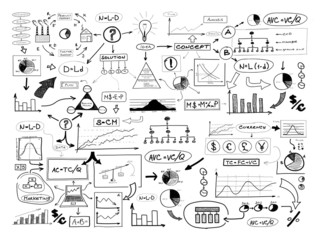 Black and white drawing of many different business elements