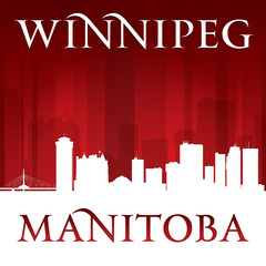 Winnipeg Manitoba Canada city skyline silhouette red background