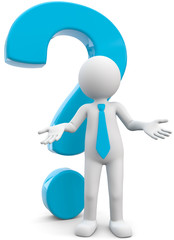 3d Männchen mit blauen Fragezeichen
