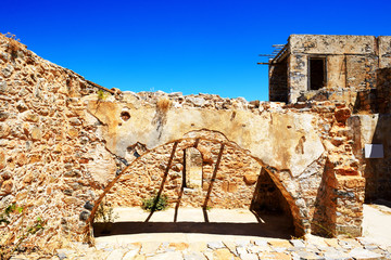 The building on Spinalonga Island, Crete, Greece