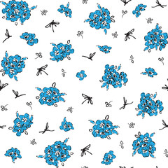 seamless background with blue wildflowers and dragonflies