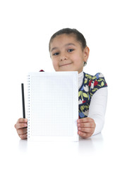 Adorable Schoolgirl with Homework Done