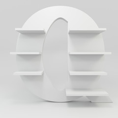 alphabet shelf shape Q