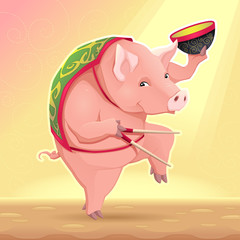 Funny pig with soup bowl and chinese sticks.