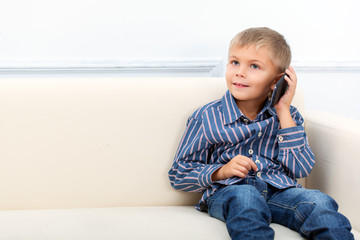 Boy and mobile phone