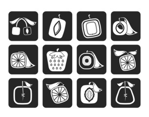 Silhouette Abstract square fruit icons