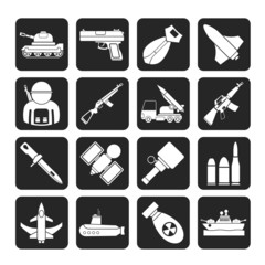 Silhouette Army, weapon and arms Icons