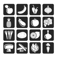 Silhouette Different kind of fruit and vegetables icons