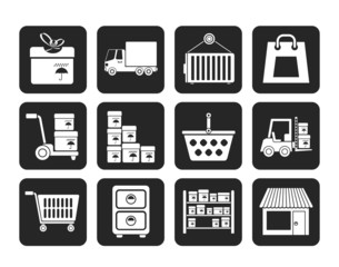 Silhouette Storage, transportation, cargo and shipping icons