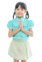 Cute Asian child welcome expression Sawasdee