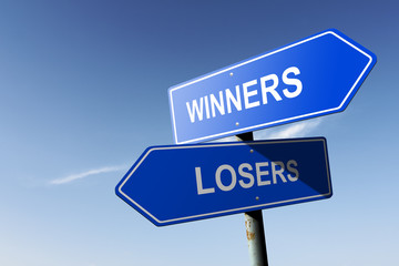 Winners and Losers directions.  Opposite traffic sign.