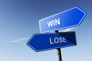 Win and Lose directions.  Opposite traffic sign.
