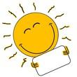 canvas print picture - Lachende Sonne hält leeres Schild