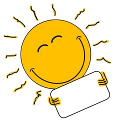 Lachende Sonne hält leeres Schild
