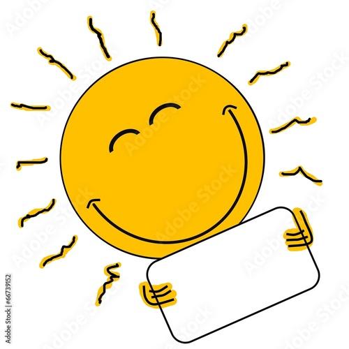 canvas print picture Lachende Sonne hält leeres Schild