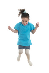 Active Joyful Little Girl Jumping with Joy
