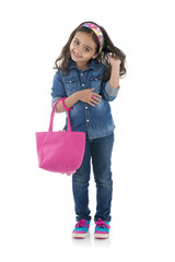 Adorable Fashion Girl with Pink Handbag